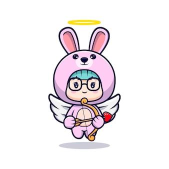 날개와 화살 토끼 의상을 입고 귀여운 소녀