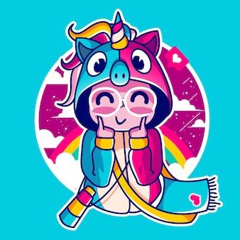 화려한 유니콘 까마귀를 입고 귀여운 소녀