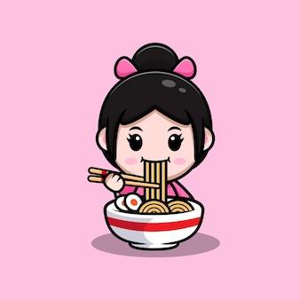 着物のドレスを着て、ラーメンを食べるかわいい女の子漫画イラスト