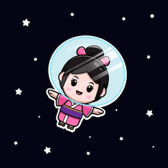 宇宙漫画イラストに浮かぶ着物ドレスを着てかわいい女の子