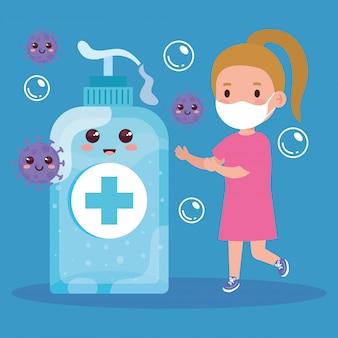 Милая девушка нося медицинскую маску для того чтобы предотвратить coronavirus covid 19 и милый дизайн иллюстрации дезинфекции бутылки