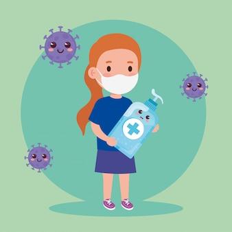 귀여운 병 소독 및 소독제 병으로 코로나 바이러스 covid 19를 방지하기 위해 의료 마스크를 착용하는 귀여운 소녀