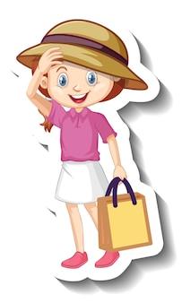 핑크 셔츠 만화 캐릭터 스티커를 입고 귀여운 소녀