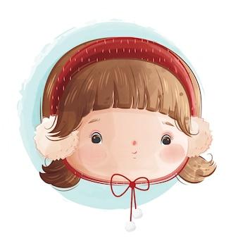 赤いヘッドバンドを身に着けているかわいい女の子