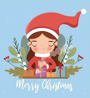 Cute girl wearing santa claus dress and variety plant and present