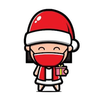 Cute girl wearing santa hat cartoon illustration. christmas concept