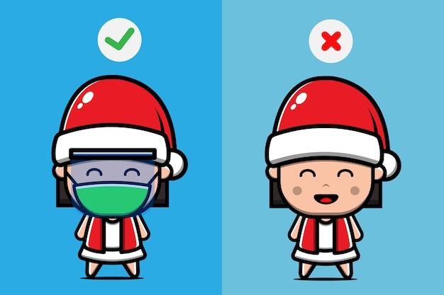 Милая девушка носить шляпу санта иллюстрации шаржа. рождественская концепция