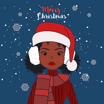 Милая девушка носить шарф и наушники в рождество зимой.