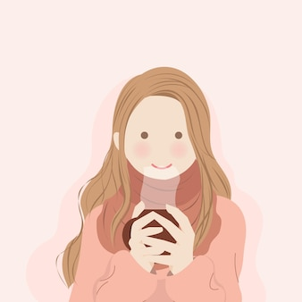 Cute girl wearing scarf warming herself with holding warm beverage