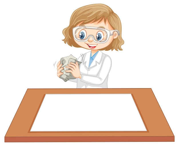 Cute girl wearing scientist uniform with blank paper on the table
