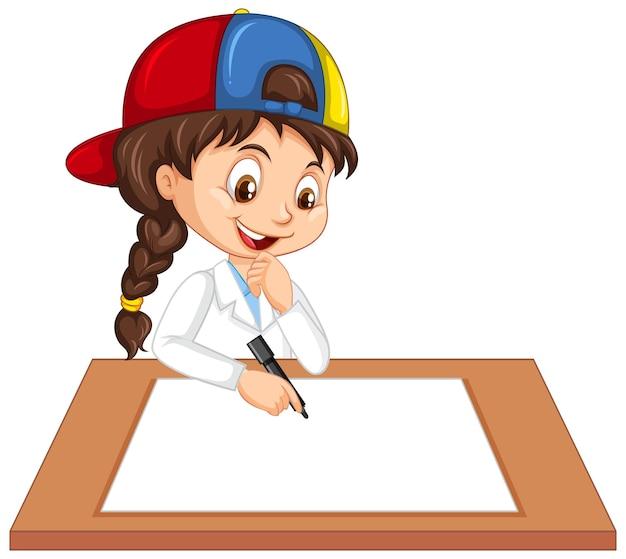 科学者の制服を着て白紙に書くかわいい女の子