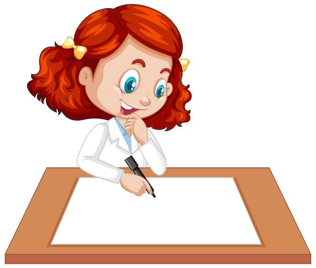 빈 종이에 쓰는 과학자 제복을 입은 귀여운 소녀