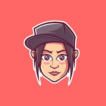 Cute girl wearing snapback vector