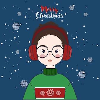 Милая девушка носить свитер и наушники в рождество зимой.
