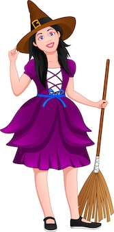 Cute girl wearing witch costume and holding  broom