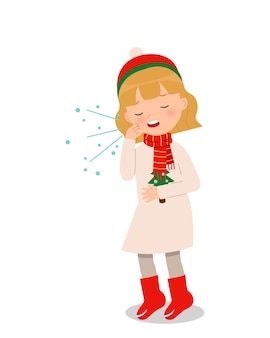 Cute girl in winter clothes coughing. medical clip art.