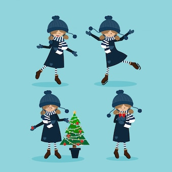 Cute girl in winter custom with christmas elements collection.