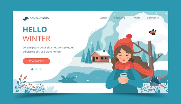 Cute girl in winter holding a cup, winter landscape and snow.