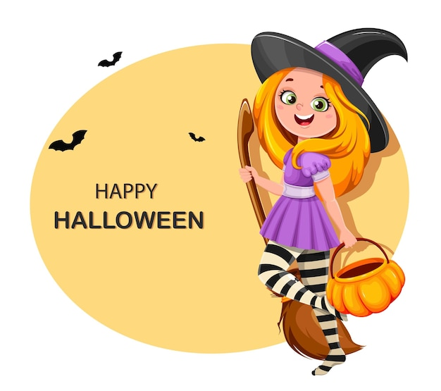 Cute girl witch. beautiful little witch cartoon character