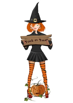 Cute girl in a witch costume holding a sign with the text - trick or treat. jack-o-lantern. people in carnival costumes on white background