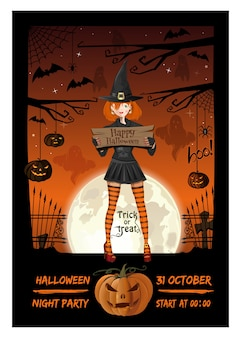 Cute girl in a witch suit invites to a halloween night party. halloween poster design.
