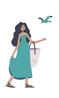 해변 가방과 갈매기를 가진 귀여운 소녀. 세련된 스타일로 휴가 중인 여자. 흰색 배경에 고립 된 한 문자입니다. 벡터 평면 그림