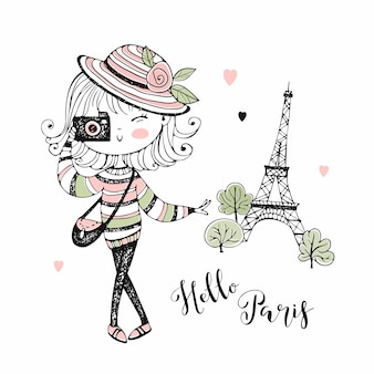 Милая девушка с фотоаппаратом в париже. путешествовать.