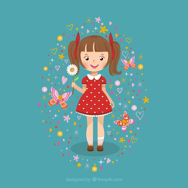 Free Cute girl with a daisy SVG DXF EPS PNG - Download Free