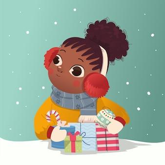 아프리카 머리를 한 귀여운 소녀는 크리스마스 이브를 축하하고 많은 선물 삽화를 받았습니다