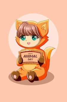 동물의 날 텍스트 만화 일러스트에서 동물 의상을 입은 귀여운 소녀