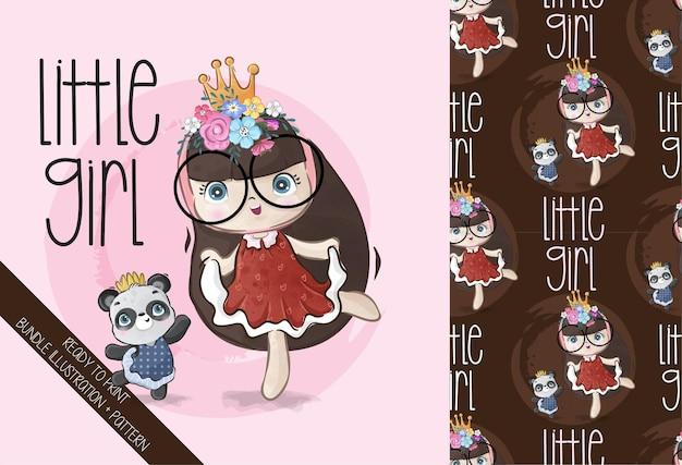 완벽 한 패턴으로 춤추는 아기 팬더와 귀여운 소녀