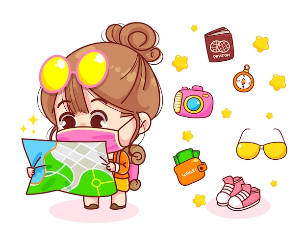 Cute girl with backpack looking at map cartoon illustration
