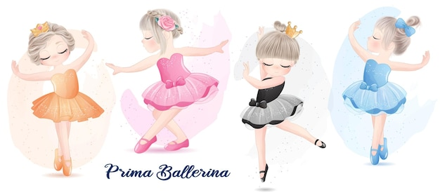 Cute girl with ballerina watercolor illustration set