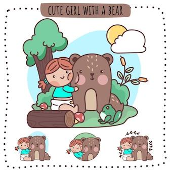 Cute girl with a bear illustration