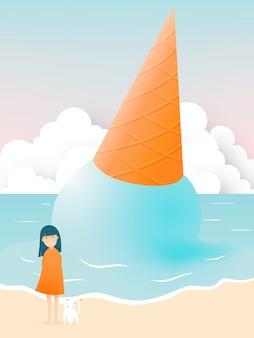 美しいビーチとアイスクリームのイラストがかわいい女の子