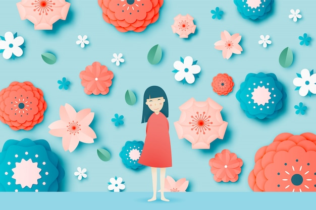 Cute girl with beautiful floral paper art and pastel color scheme vector illustation