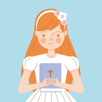 Cute girl with bible