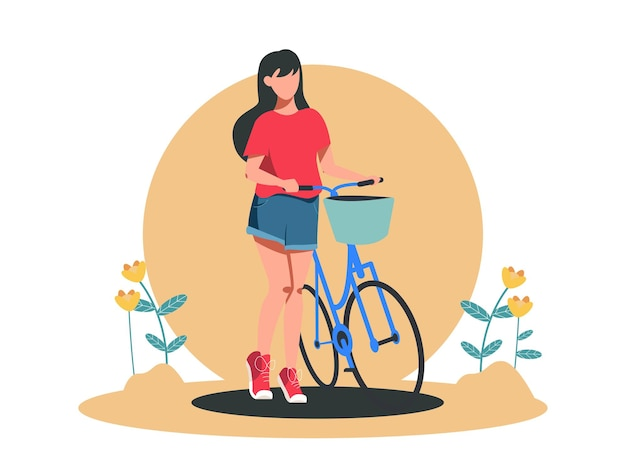 Cute girl with bicycle