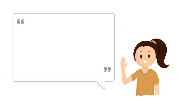 Cute girl with big speech bubble on white.