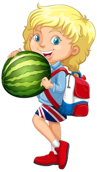 Cute girl with blonde hair holding a watermelon in standing position