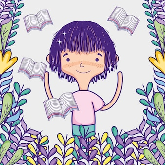 Cute girl with books flying cartoons