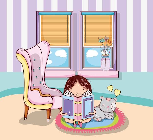 Симпатичная девушка с книгами внутри комнаты мультфильмы