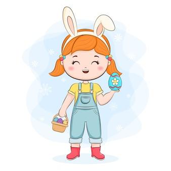 토끼 귀와 바구니 귀여운 소녀 프리미엄 벡터