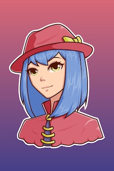 귀여운 모자 캐릭터 일러스트와 함께 귀여운 소녀