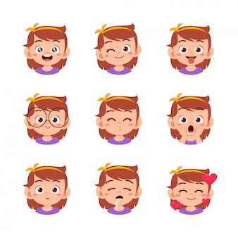 Cute girl with different face expressions