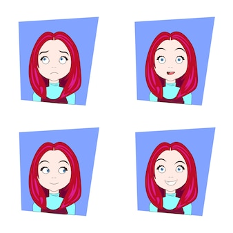 Cute girl with different facial emotions set of young red hair woman face expressions