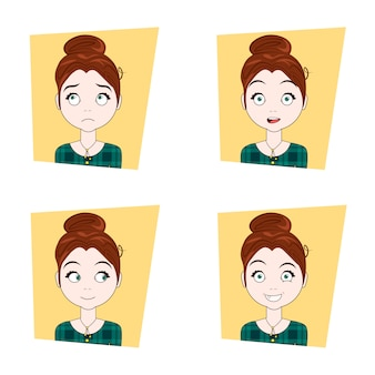 Cute girl with different facial emotions set of young woman face expressions
