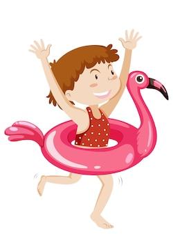 고립 된 공룡 수영 반지와 귀여운 소녀