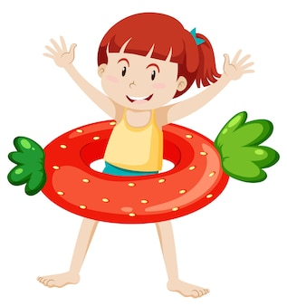 Cute girl with dinosaur swimming ring isolated