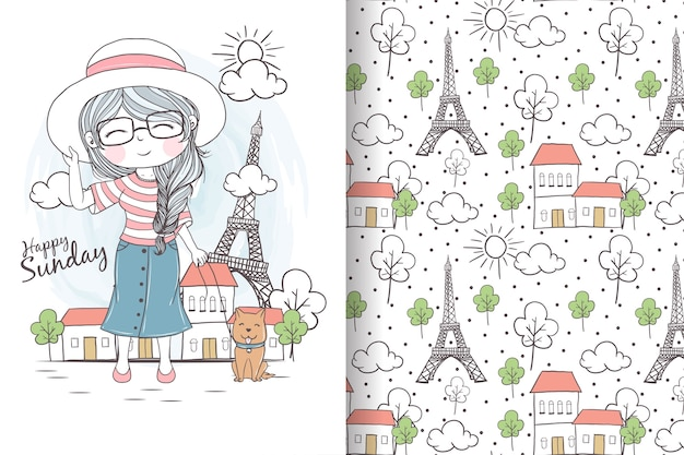Cute girl with dog holiday in paris seamless pattern